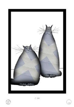 2 Shabby Chic Scottish Cats